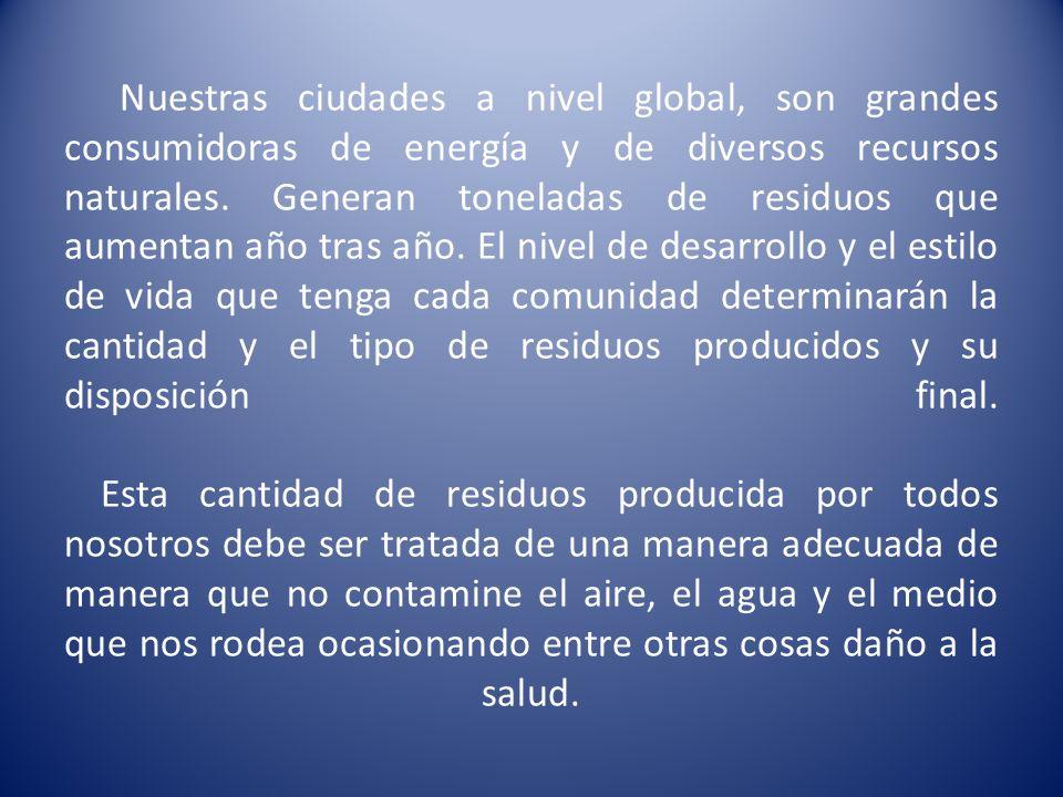 Nuestras ciudades a nivel global, son grandes consumidoras de energía y de diversos recursos naturales.