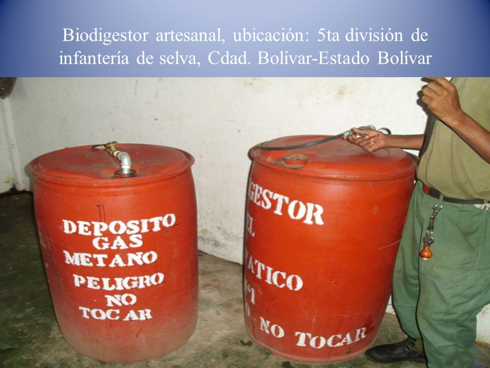 Biodigestor artesanal, ubicación: 5ta división de infantería de selva, Cdad. Bolívar-Estado Bolívar