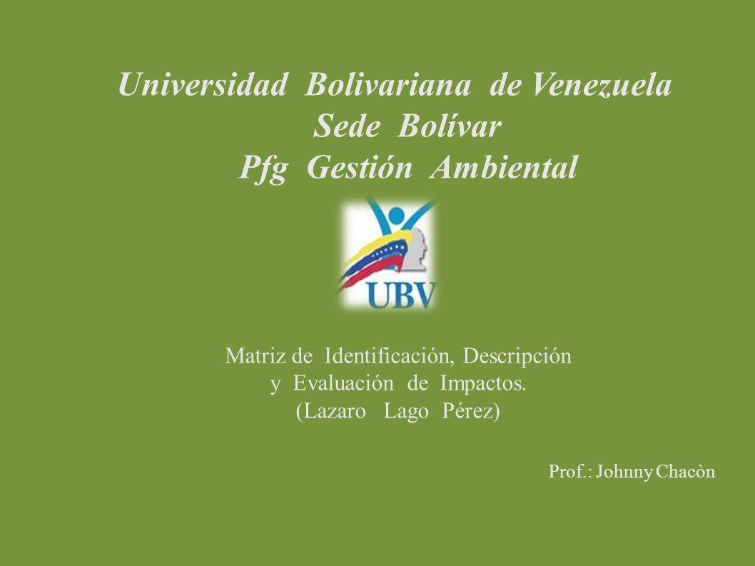 Universidad Bolivariana de Venezuela Sede Bolívar Pfg Gestión Ambiental