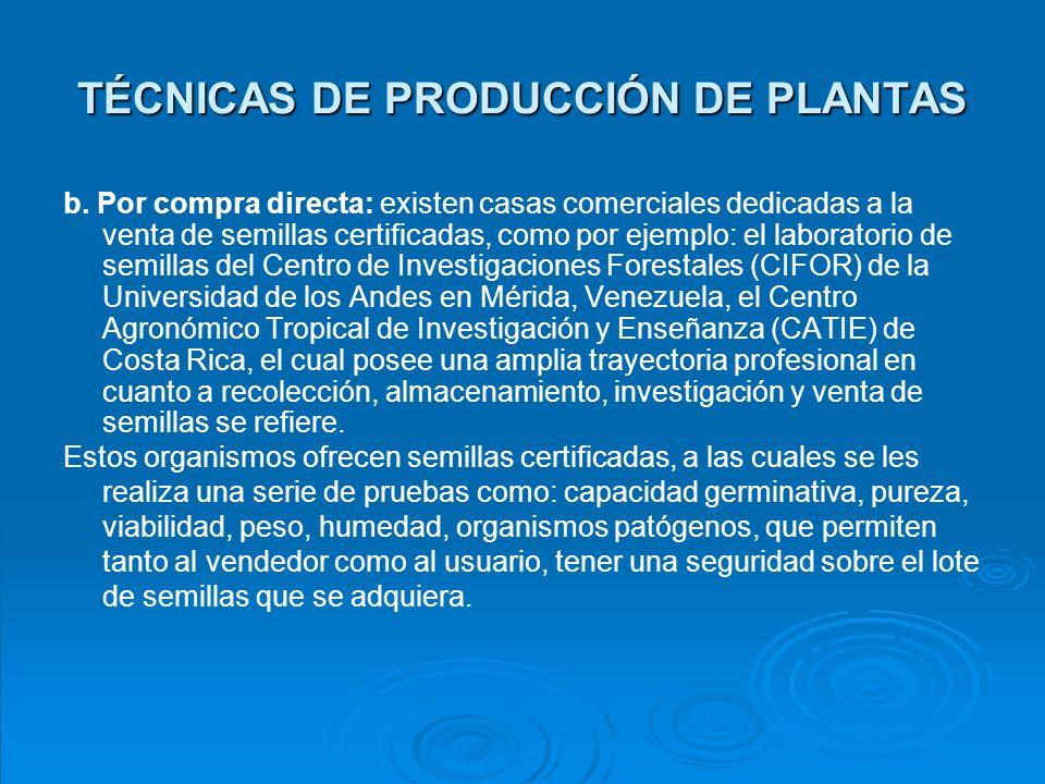 TÉCNICAS DE PRODUCCIÓN DE PLANTAS