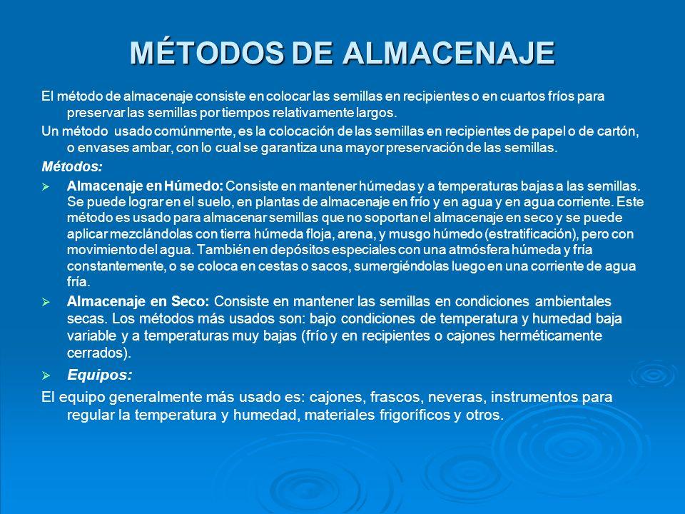 MÉTODOS DE ALMACENAJE Equipos: