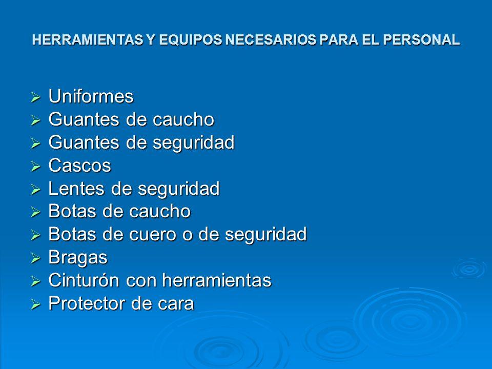 HERRAMIENTAS Y EQUIPOS NECESARIOS PARA EL PERSONAL