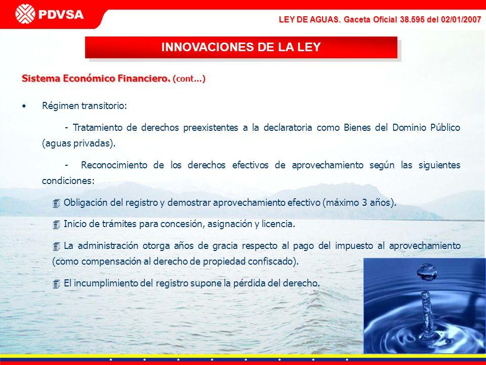INNOVACIONES DE LA LEY Sistema Económico Financiero. (cont…)