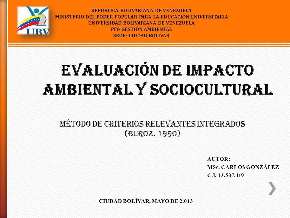 Evaluación de Impacto Ambiental y Sociocultural