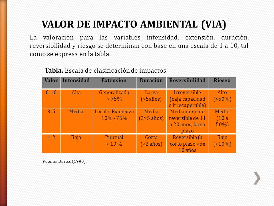 VALOR DE IMPACTO AMBIENTAL (VIA)