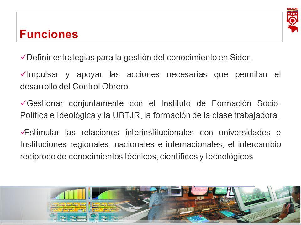 FuncionesDefinir estrategias para la gestión del conocimiento en Sidor.