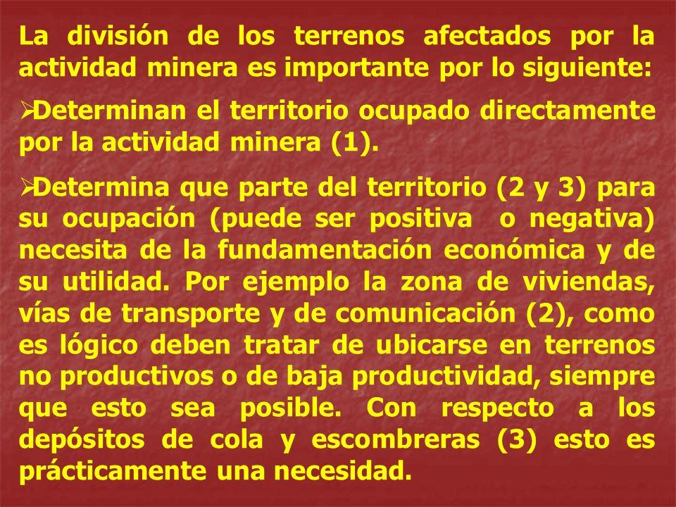 La división de los terrenos afectados por la actividad minera es importante por lo siguiente: