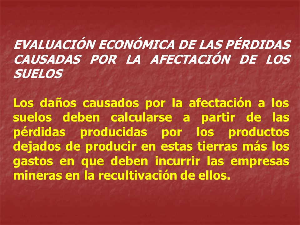 EVALUACIÓN ECONÓMICA DE LAS PÉRDIDAS CAUSADAS POR LA AFECTACIÓN DE LOS SUELOS