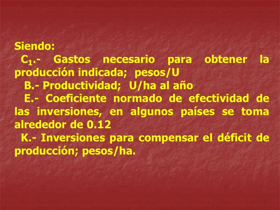 Siendo:C1.- Gastos necesario para obtener la producción indicada; pesos/U. B.- Productividad; U/ha al año.