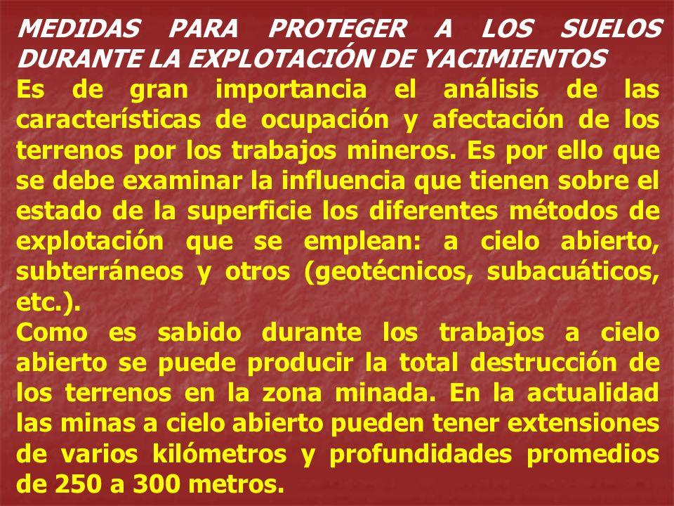 MEDIDAS PARA PROTEGER A LOS SUELOS DURANTE LA EXPLOTACIÓN DE YACIMIENTOS
