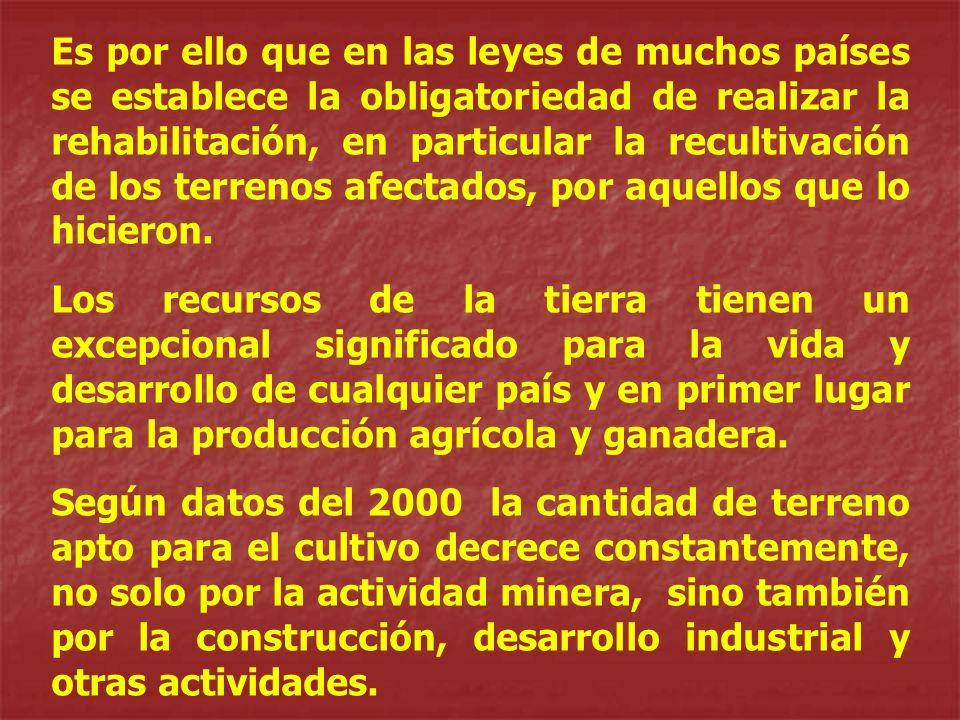 Es por ello que en las leyes de muchos países se establece la obligatoriedad de realizar la rehabilitación, en particular la recultivación de los terrenos afectados, por aquellos que lo hicieron.