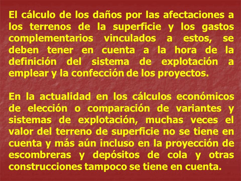 El cálculo de los daños por las afectaciones a los terrenos de la superficie y los gastos complementarios vinculados a estos, se deben tener en cuenta a la hora de la definición del sistema de explotación a emplear y la confección de los proyectos.