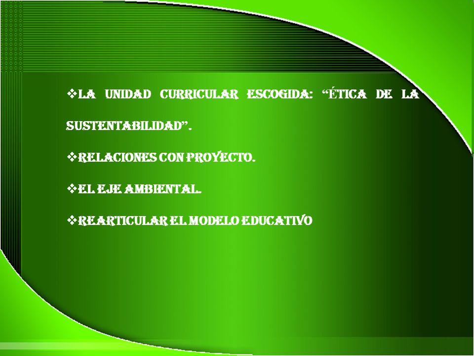 La Unidad Curricular escogida: Ética de la Sustentabilidad .