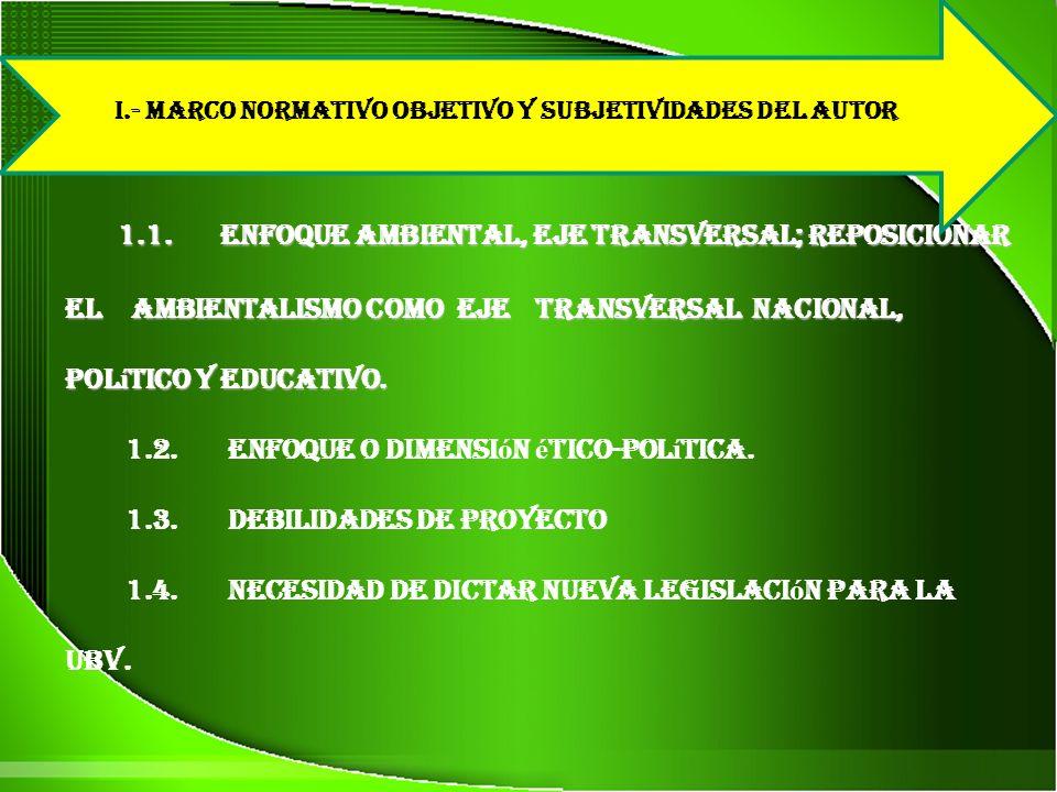 I.- MARCO NORMATIVO OBJETIVO Y SUBJETIVIDADES DEL AUTOR
