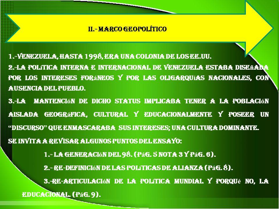 1.-Venezuela, hasta 1998, era una colonia de los EE.UU.