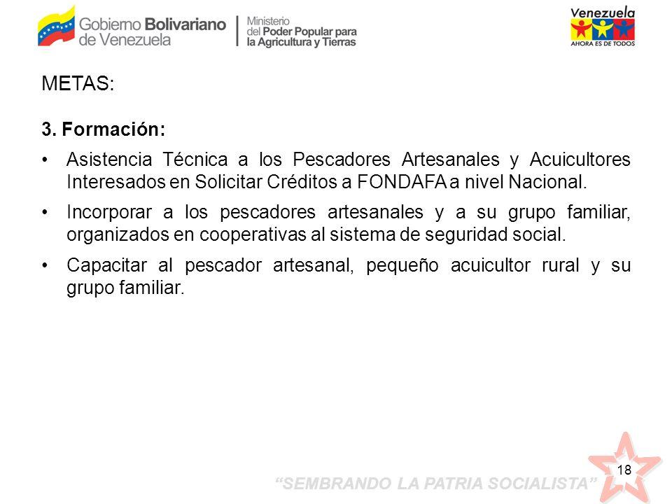 METAS:3. Formación: Asistencia Técnica a los Pescadores Artesanales y Acuicultores Interesados en Solicitar Créditos a FONDAFA a nivel Nacional.