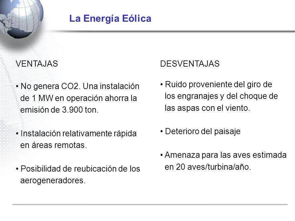 La Energía Eólica VENTAJAS DESVENTAJAS No genera CO2. Una instalación