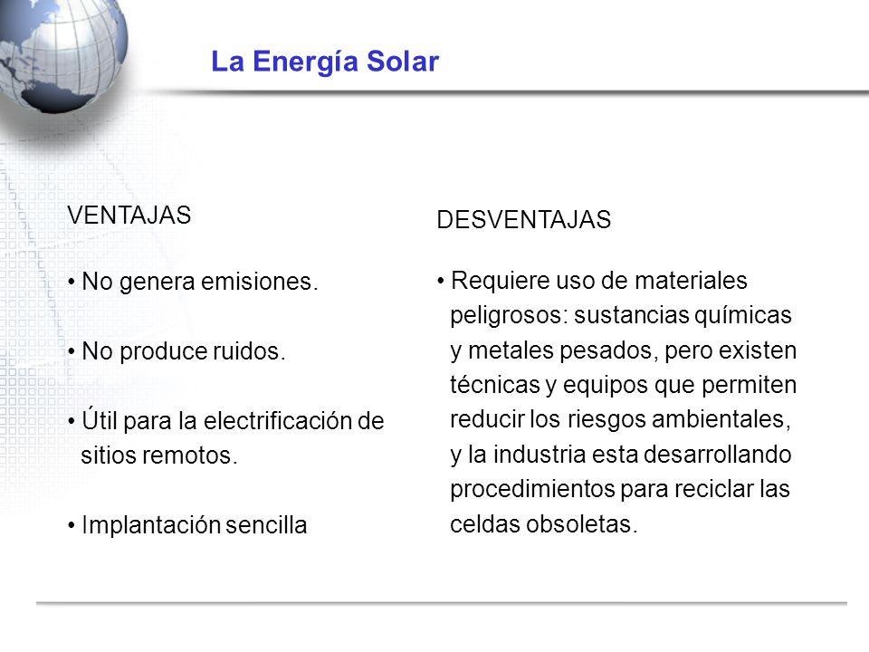 La Energía Solar VENTAJAS DESVENTAJAS No genera emisiones.