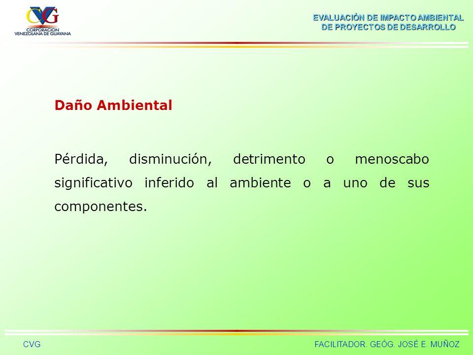 Daño Ambiental Pérdida, disminución, detrimento o menoscabo significativo inferido al ambiente o a uno de sus componentes.