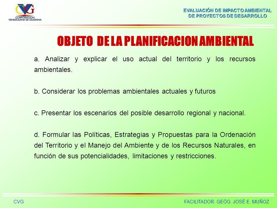 OBJETO DE LA PLANIFICACION AMBIENTAL
