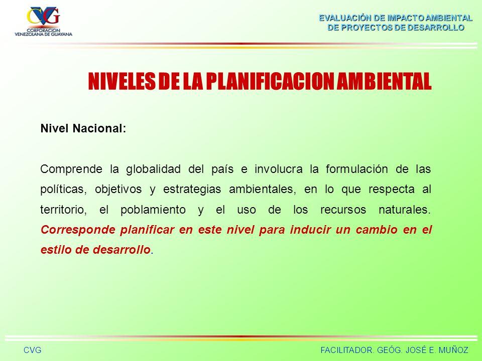 NIVELES DE LA PLANIFICACION AMBIENTAL
