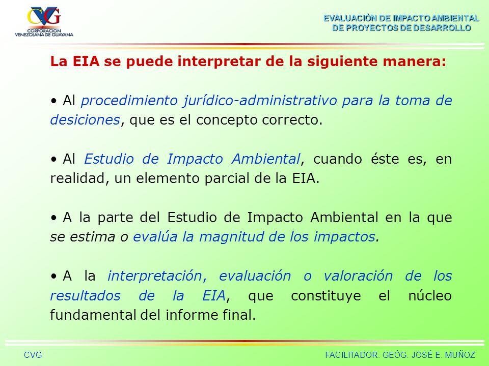La EIA se puede interpretar de la siguiente manera:
