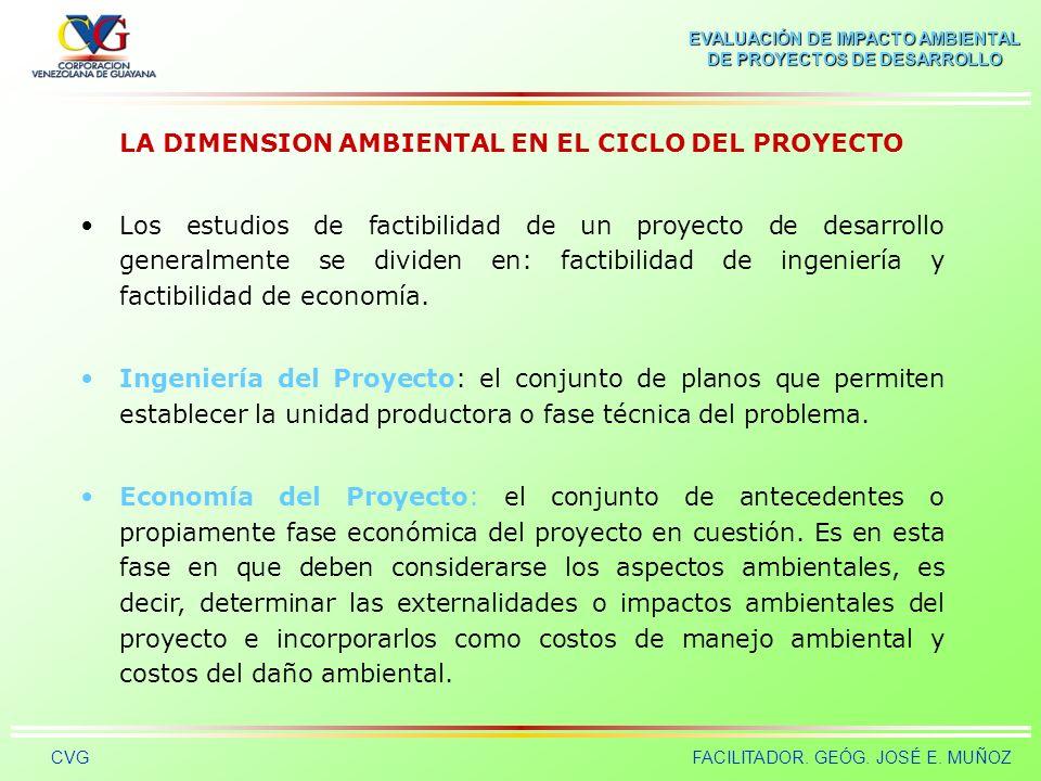 LA DIMENSION AMBIENTAL EN EL CICLO DEL PROYECTO