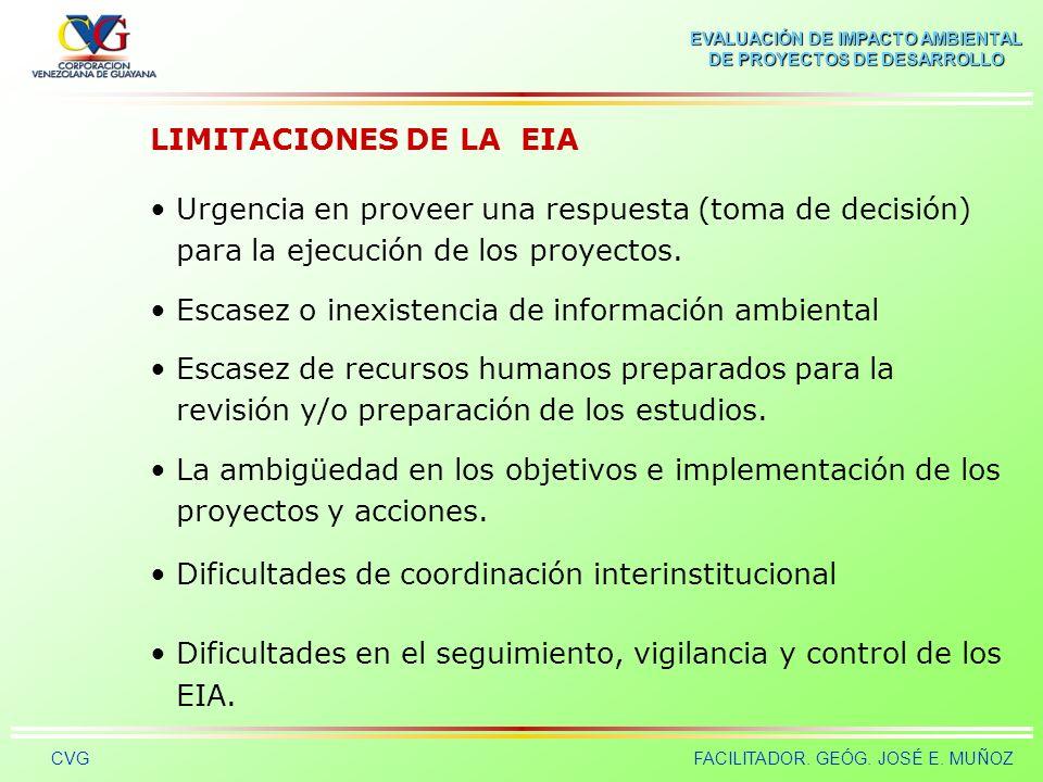 LIMITACIONES DE LA EIA Urgencia en proveer una respuesta (toma de decisión) para la ejecución de los proyectos.