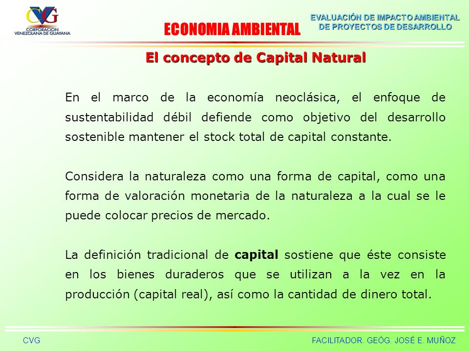 El concepto de Capital Natural