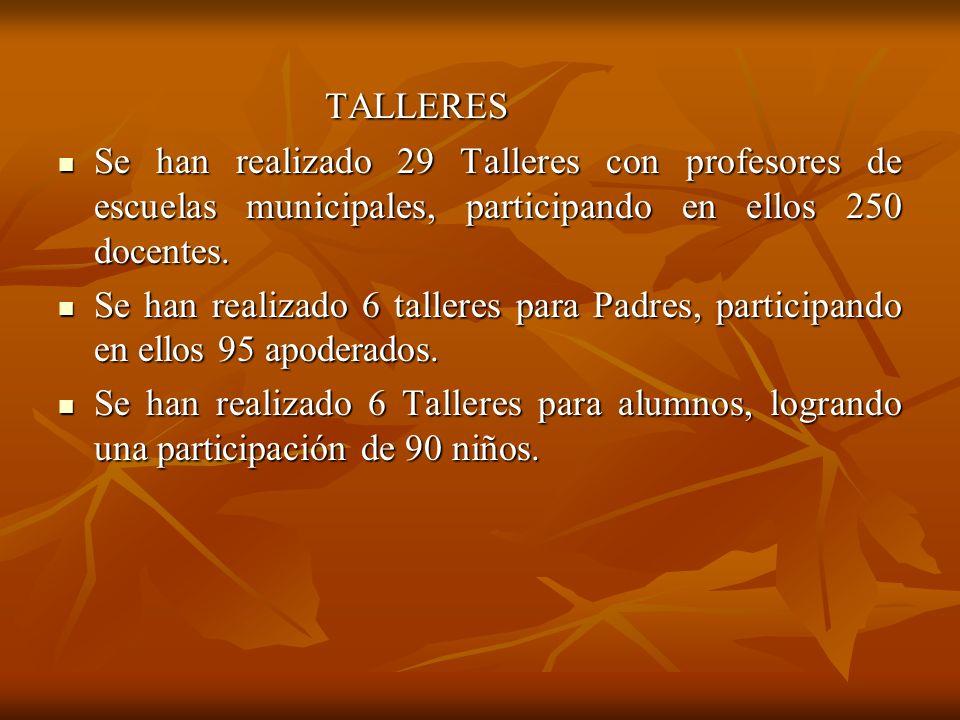 TALLERES Se han realizado 29 Talleres con profesores de escuelas municipales, participando en ellos 250 docentes.