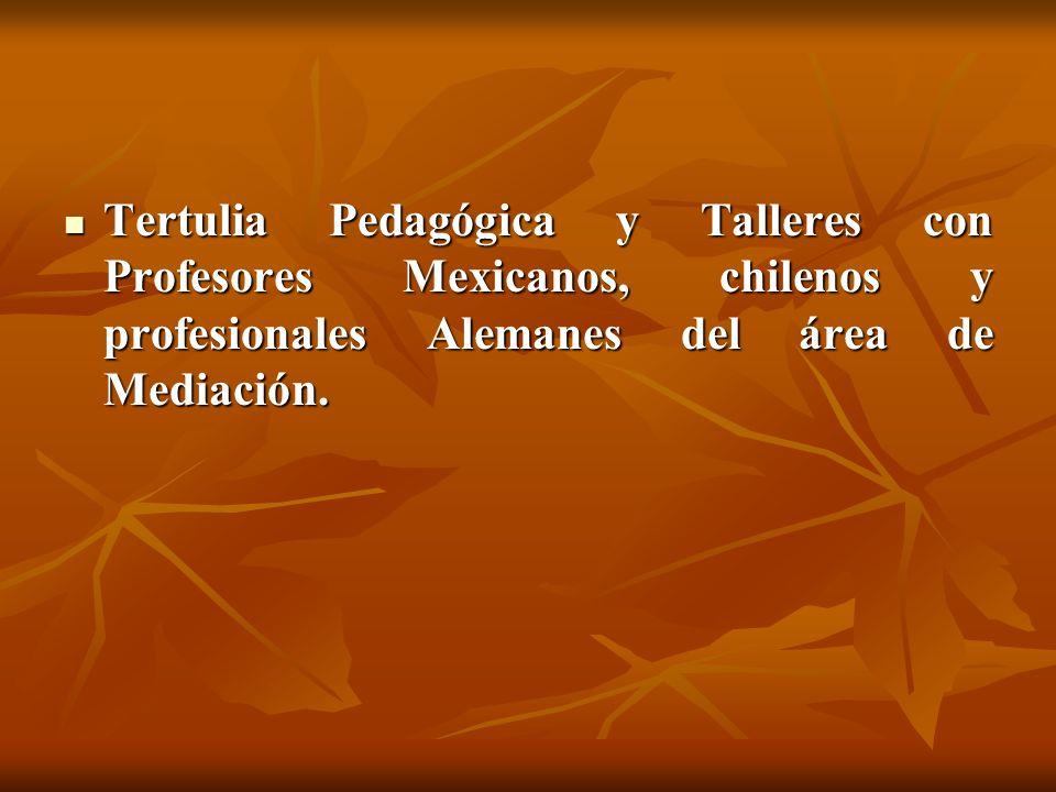 Tertulia Pedagógica y Talleres con Profesores Mexicanos, chilenos y profesionales Alemanes del área de Mediación.