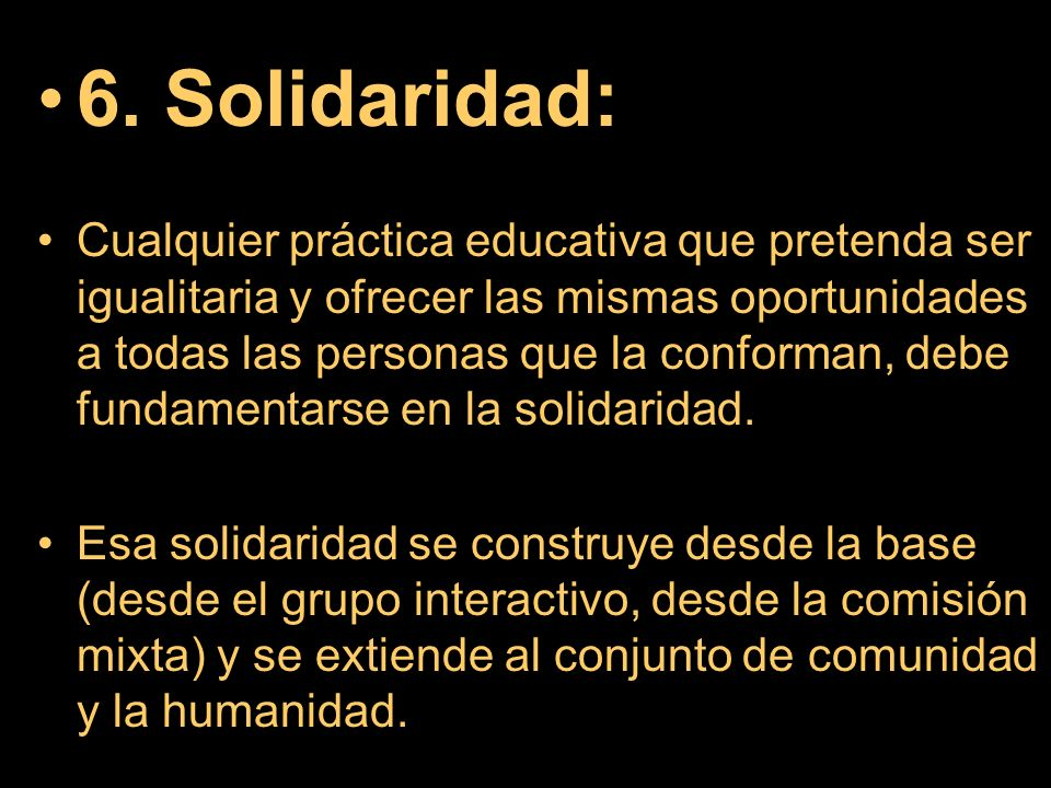 6. Solidaridad:
