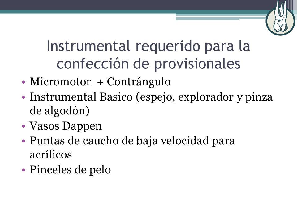 Instrumental requerido para la confección de provisionales
