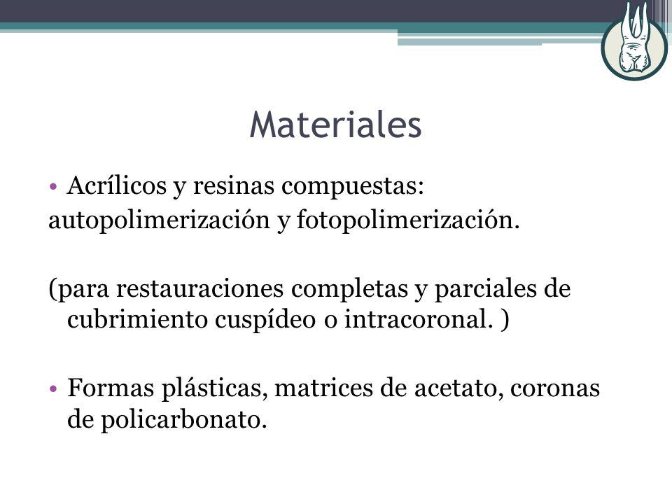 Materiales Acrílicos y resinas compuestas: