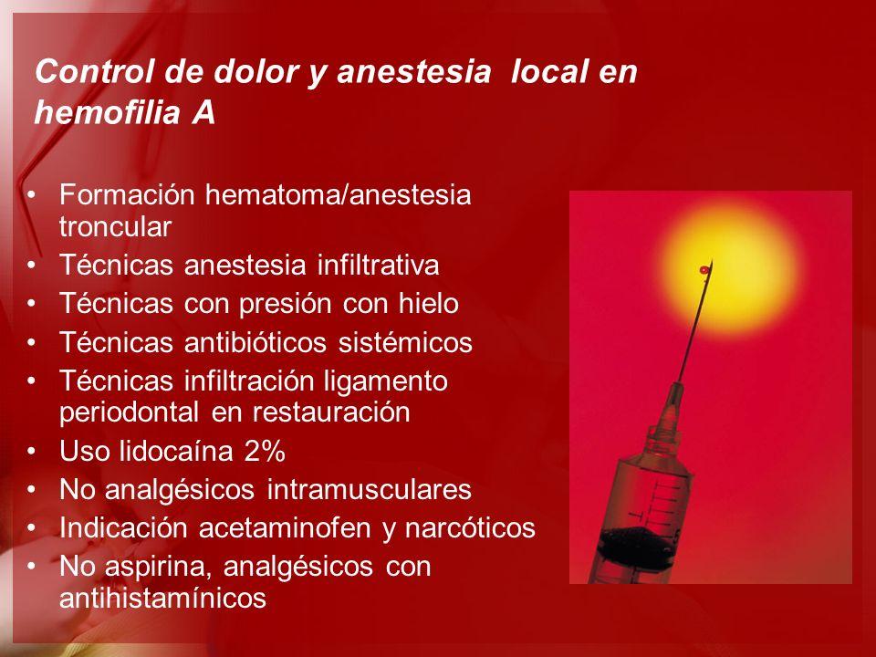 Control de dolor y anestesia local en hemofilia A