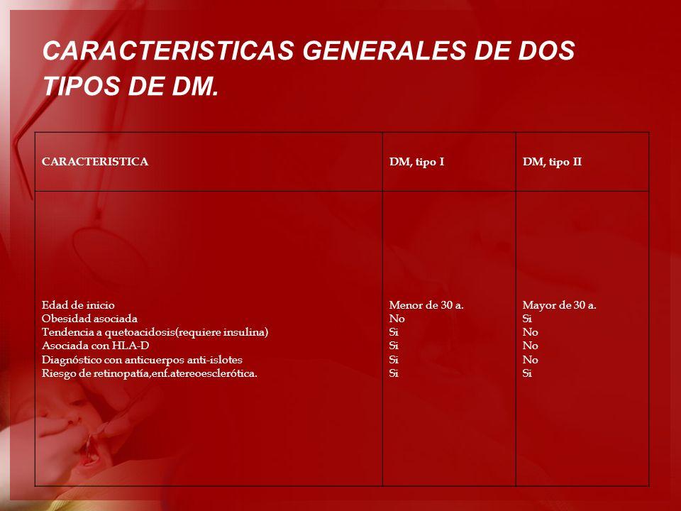 CARACTERISTICAS GENERALES DE DOS TIPOS DE DM.