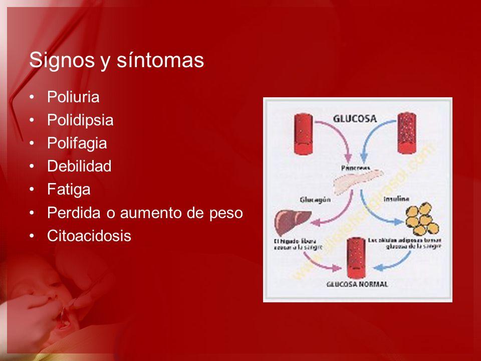 Signos y síntomas Poliuria Polidipsia Polifagia Debilidad Fatiga