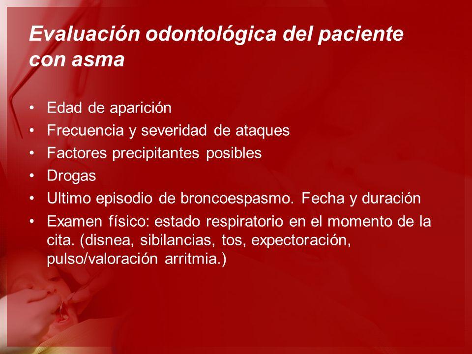 Evaluación odontológica del paciente con asma