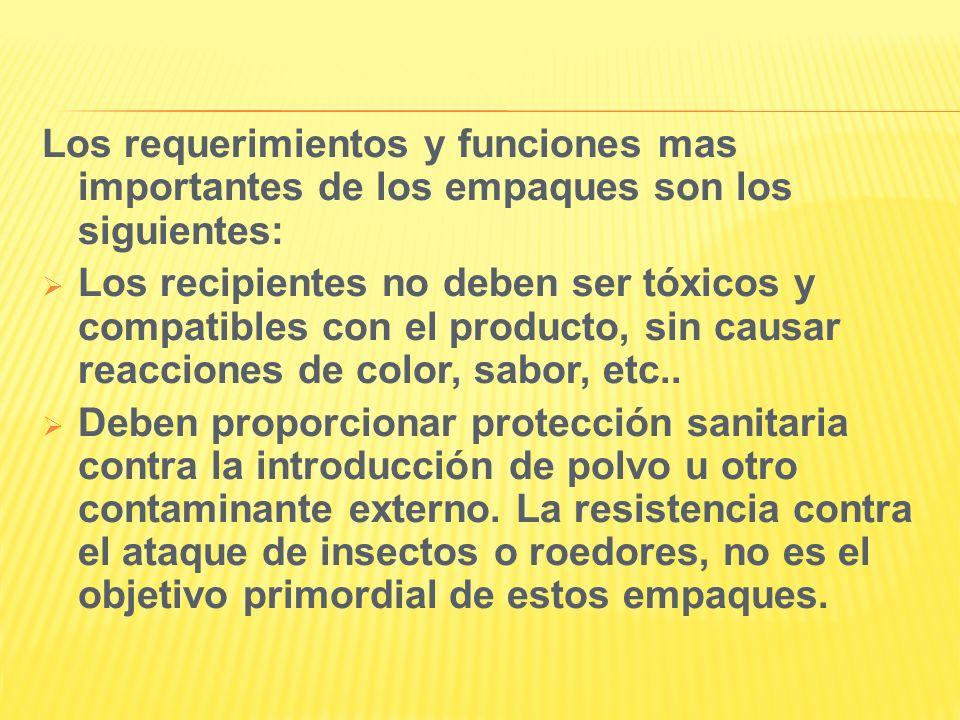 Los requerimientos y funciones mas importantes de los empaques son los siguientes: