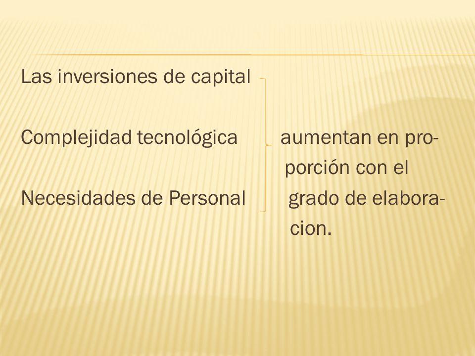 Las inversiones de capital Complejidad tecnológica aumentan en pro- porción con el Necesidades de Personal grado de elabora- cion.