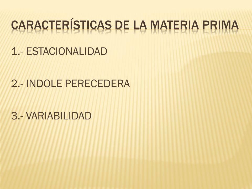 Características de la materia prima