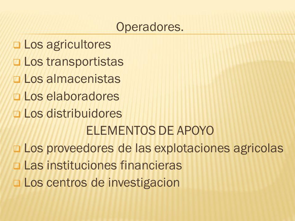 Operadores.Los agricultores. Los transportistas. Los almacenistas. Los elaboradores. Los distribuidores.