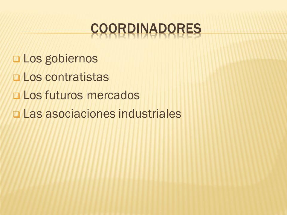 COORDINADORES Los gobiernos Los contratistas Los futuros mercados