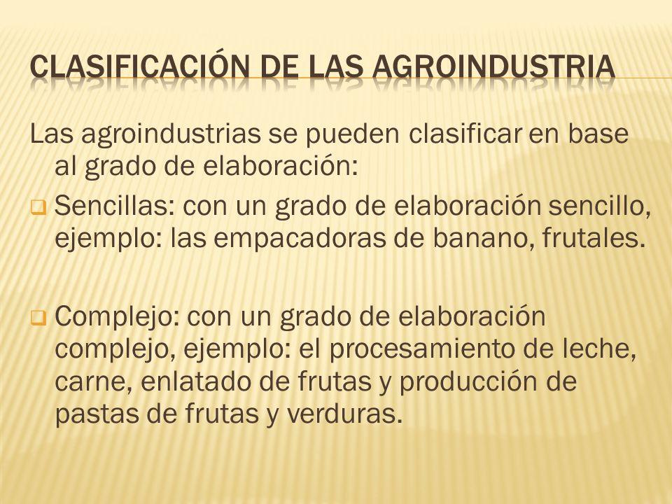 Clasificación de las agroindustria