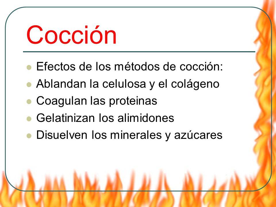 Cocción Efectos de los métodos de cocción:
