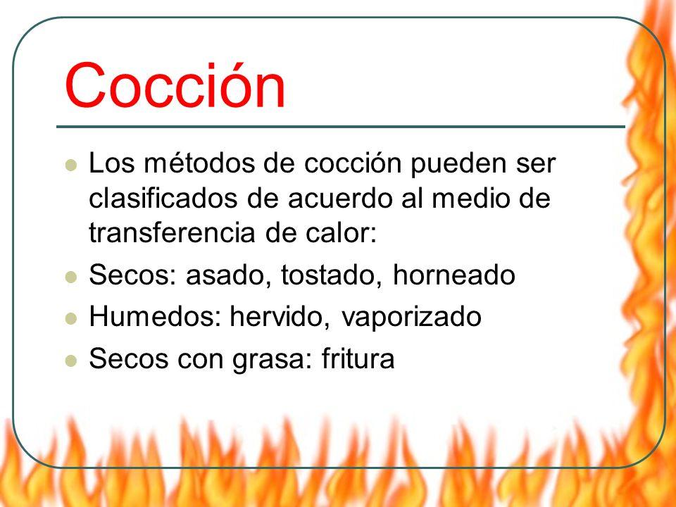 Cocción Los métodos de cocción pueden ser clasificados de acuerdo al medio de transferencia de calor: