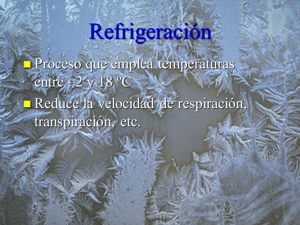 Refrigeración Proceso que emplea temperaturas entre –2 y 18 ºC