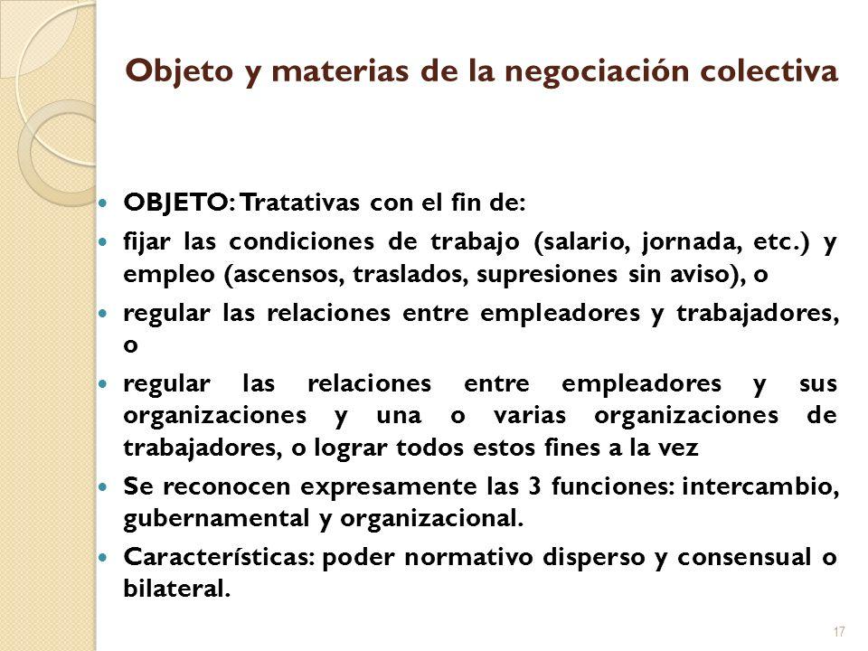 Objeto y materias de la negociación colectiva