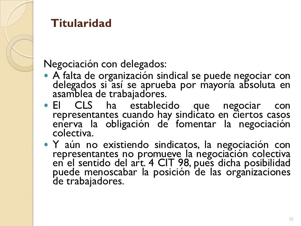 Titularidad Negociación con delegados: