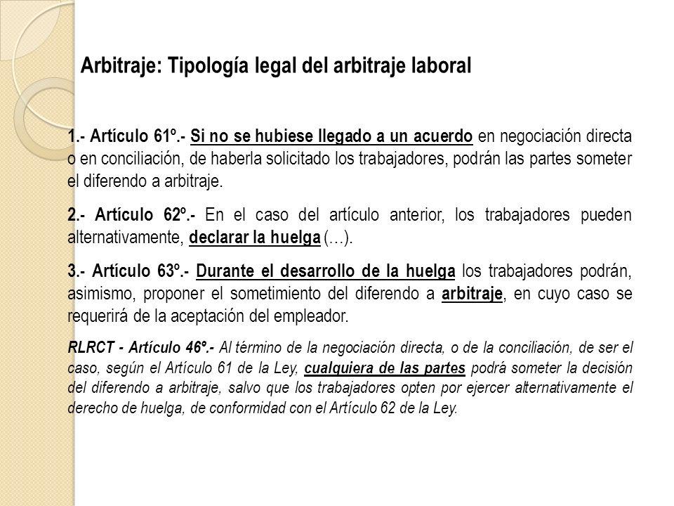 Arbitraje: Tipología legal del arbitraje laboral